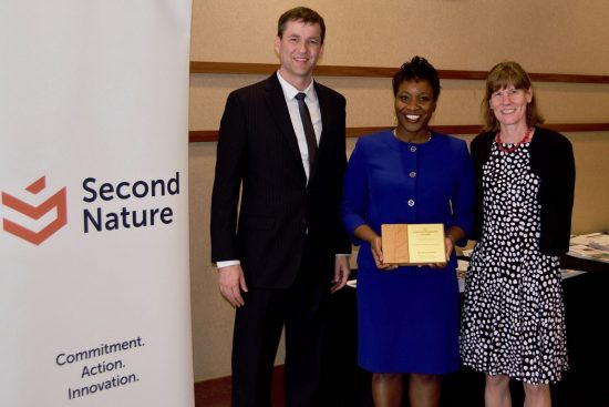 Dr. Tim Carter (President, Second Nature), Tiffoni Buckl-McCartney (Sustainability Manager, Georgia Southern) and Dr. Lissa Leege (Director, CfS, Georgia Southern) with award at 2018 Second Nature Summit in Tempe, Arizona
