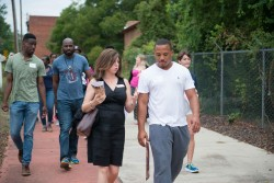 walking with community members