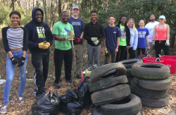 Students after cleaning up wetlands