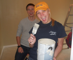 Students painting with Habitat