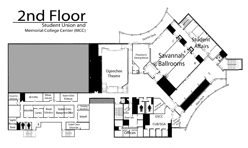 2nd Floor Student Union Map